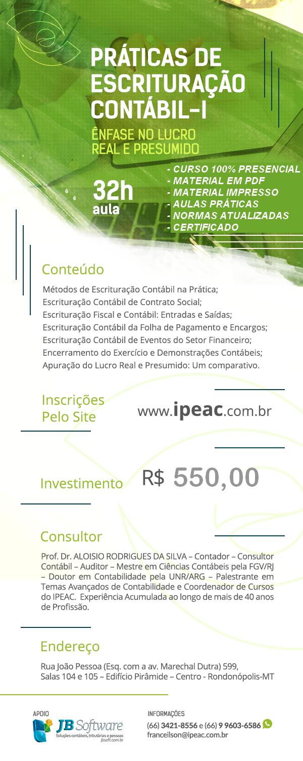 PRÁTICAS DE ESCRITURAÇÃO CONTÁBIL - 8ª TURMA